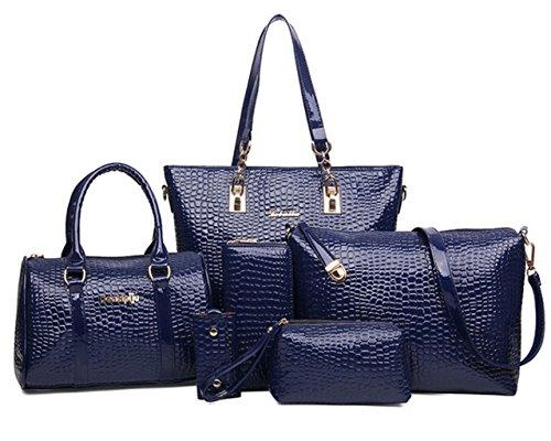 Tibes PU lederne Damen Handtasche + Boston Handtasche + Crossbody Beutel + Wallet + Mobiltelefon Geldbeutel + Schlüsselhalter 6 Stück Satz Schultasche Blau (Boston Top Handtasche)