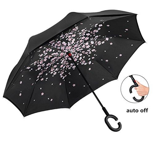 Umgekehrter Regenschirm automatische Doppelschicht windundurchlässige, Reise Rückseiten Regenschirme UVbeweises Falten Regenschirm - Überfüllten Bus