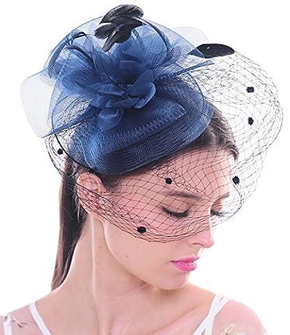 Fleur élégante voile en forme fillet de maille a pois Fascinator pince à cheveux chapeaux en plume pour mariage et soirée Cocktail (blue marine)