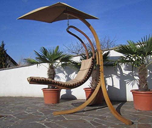 DESIGN Hängeliege NAVASSA mit Gestell aus Holz Lärche komplett mit Hängeliege und Dach von AS-S, Farbe:Braun - 2