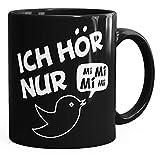 MoonWorks Kaffe-Tasse Spruch Ich hör Nur Mi Mi Mi Mimimi Geschenk Büro Kollege Kollegin Chef Einfarbig schwarz Unisize