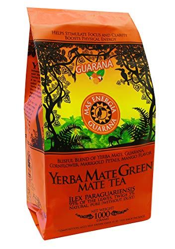 Energie-greens (Yerba Mate Green 'Mas Energia Guarana' Brasilianischer Mate-Tee 1000g | fruchtiges Mate Tee | mit Guarana, Minzblatt, Zitronengras, Kornblumenblüten, Ringelblumenblätter und Mango-Aroma)