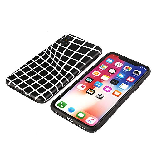 Wangyi Phone Case-Scrub TPU-Retro Plaid Pattern Phone Case-3D England Grid-White and Black-for 6sp-7/8-7p/8plus-x/xs-xr-xsMax,Blackwithwhite,7p/8plus -
