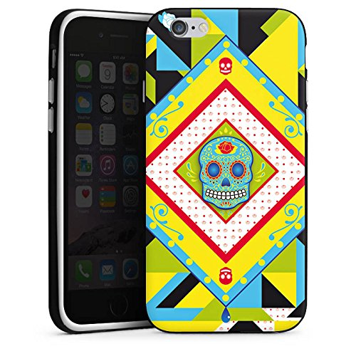 Apple iPhone X Silikon Hülle Case Schutzhülle Totenkopf Buntes Maya Muster Silikon Case schwarz / weiß