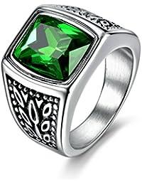 masop joyería hombres del anillo de acero inoxidable amplia identificar verde cuadrado de color esmeralda piedra