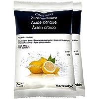 NortemBio Ácido Cítrico 1 kg (2x500g), Calidad Premium, Polvo Anhidro, Natural, 100% Puro, para producción ecológica. Producto CE.
