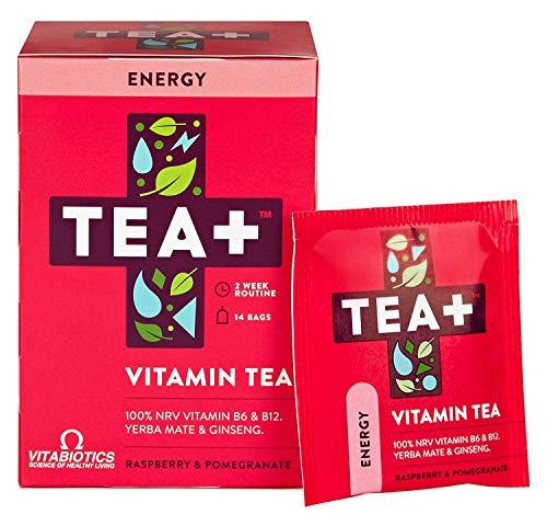 Tea Plus ( Tea + ) Energy Boost Green Tea Vitamin B12 B6 Supplement | Raspberry Pomegranate Fruit Tea Bags | Pack of 2 x 14 Day Supply