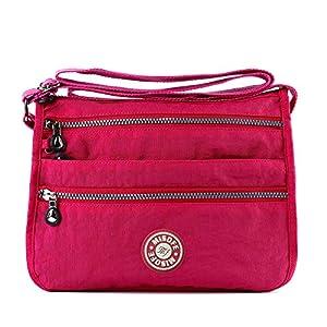 51mSyeiWqUL. SS300  - Bolso de mensajero estilo bandolera, para Mujer, estilo Casual, de nailon, con varios bolsillos, bolso de mano de viaje