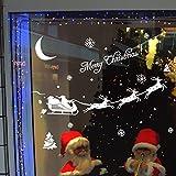ODJOY-FAN Weihnachten Glas Wandaufkleber Dekoration Abziehbild Fenster Aufkleber Zuhause Dekor Entfernbar Mauer Aufkleber Fenster Wandtattoos Dekoartikel (43x70CM) (Weiß,1 PC)
