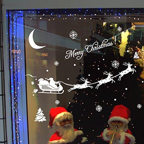 MAYOGO Weihnachten Wandaufkleber Weiß   Fenster Glas Vitrine Applique   Wand Stickers Spiegel Buchstaben Schneeflocke Weihnachtsmann Muster Aufkleber 43 * ()