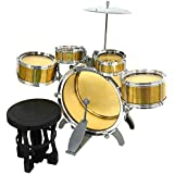 ICW Jazz Drum Set With Chair Musical Toy Instrument For Kids (Yellow) 8008E