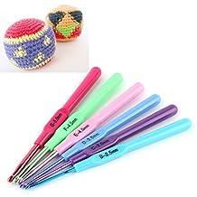 6 unids Nueva Multicolor Agujas de tejer de plástico Mango De Aluminio Crochet Ganchos Plantilla Knit