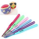 6pcs nouvelle aiguilles à tricoter multicolores poignée en plastique coloré en...