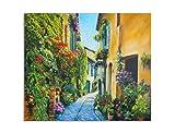 deinebilder24 Kunstdrucke - 40 x 60 cm - Kunst-Ölgemälde-Abbildung Blumen-Straße in Italien