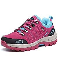 NEOKER Hiking Walking Shoes Mens Womens Trekking Sports Outdoor Low Rise Sneakers - Red - (5.5/39EU)