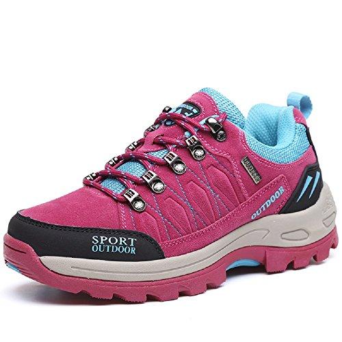 NEOKER Scarpe da Trekking Uomo Donna Arrampicata Sportive All'aperto Escursionismo Sneakers Rosso 38