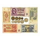 URSS COMPLETO IMPOSTARE: COLLEZIONE DI BANCONOTE 1961 9 MONETE RUSSO SOVIETICO COPECHI + 5 RUBLO