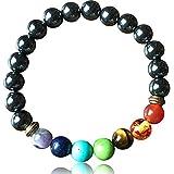 Princesa Bracelet hématite Bracelet 7 Chakras en Pierres Naturelles Yoga méditation Cadeau élastique 18 cm