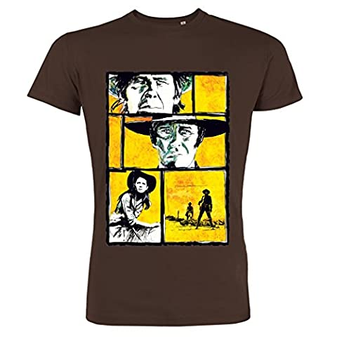 Pushertees - T-shirt homme Chocolat Western film classique 60s lion morricone eastwood chefs-d