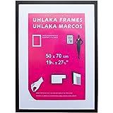 Marco negro Uhlaka B2 50x70 cm (incluye paspartú blanco para láminas A2)
