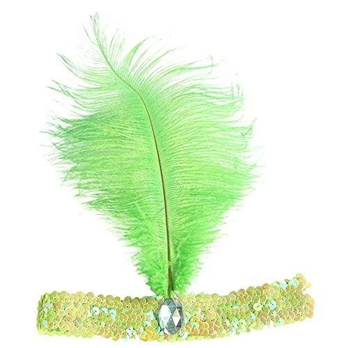 Sanwood Pailletten-Tänzerin Party Flapper Stirnband Kopfschmuck mit Feder plume Gr. Einheitsgröße, grün (Grün Flapper Kostüme)