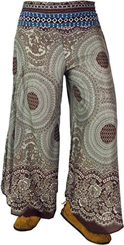 Guru-Shop Weiter Hosenrock mit Retrodruck, Damen, Blau, Viskose, Size:38, Lange Hosen Alternative Bekleidung Braun