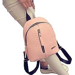 Goodsatar Mochilas Mujer Cuero de la PU Mochilas Bolsa de viaje (Rosado, talla única)