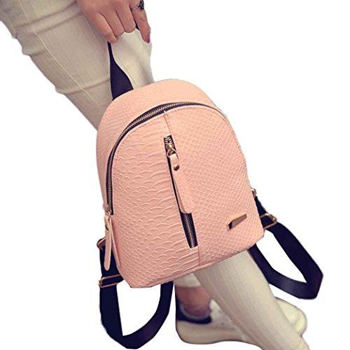 Foto de Goodsatar Mochilas Mujer Cuero de la PU Mochilas Bolsa de viaje (Rosado, talla única)