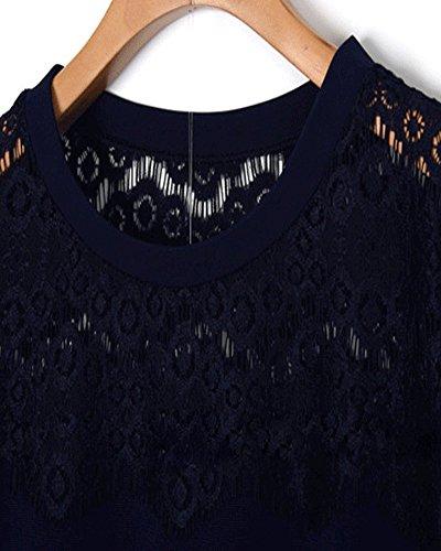 SaiDeng Femme Grande Taille Dentelle Col Creux Simple Robe De Bal Noir