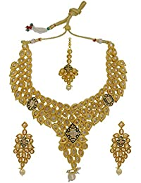 My Design Bridal Wedding AD Stone Necklace Set With Maang Tika For Women And Girls