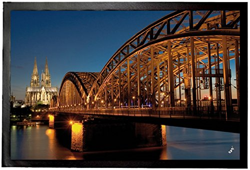 1art1 94585 Köln – Hohenzollernbrücke Und Kölner Dom Bei Nacht Fußmatte Türmatte 60 x 40 cm