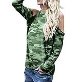 Damenblusen,Shopaholic0709 Damen Bluse Frauen Langarm Schulterfrei Camouflage Top Damen Baumwolle Tops Damen Langarmshirts Damen Baumwolle Tops & Shirts für Damen