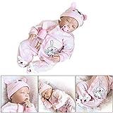 Haven shop Puppe für Neugeborene, lebensechte weiche Körper, Silikon-Imitation, wie Reborn-Puppe, Baby-Hasen-Muster, Spielzeug Geschenk