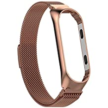 Innersetting Stainless Steel Watch Band Strap w/Frame for Xiaomi MI Band 3 S (Rose Gold)