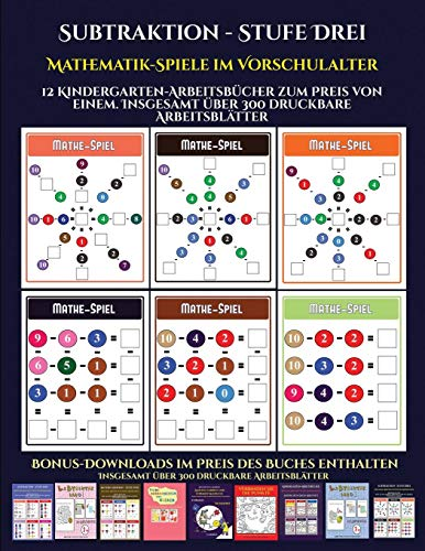 Vorschulalter (Subtraktion - Stufe Drei): 12 Kindergarten-Arbeitsbücher zum Preis von einem. Insgesamt über 300 druckbare Arbeitsblätter ()