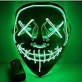 BangShou Halloween LED Máscaras Purga de Máscaras de Halloween Craneo Esqueleto Mascaras para la Navidad Halloween Cosplay Grimace Festival Party Show (Verde)