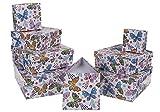 Out of the blue 101657 Set da 8 Scatola da Regalo con Farfalla e Decorazioni Floreali Colorati, Cartone, Multicolore, 22.5x22.5x8 cm
