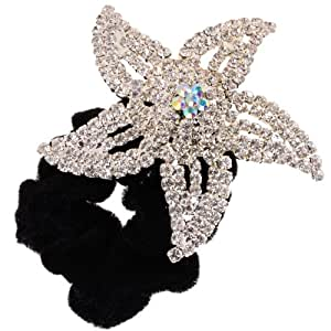 Oscar & Lewis Black Velvet Scrunchie with White and AB Crystal Flower Detail