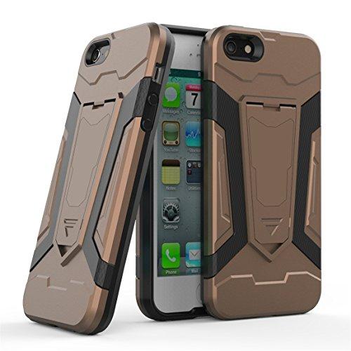 Apple iPhone 5 5G 5S SE Coque [Armure Series], Voguecase 2 in 1 Shockproof Hybrid Doux TPU and Hard PC Rigide Protecteur Coquille Shell Housse Étui avec Built-in Kickstand (Vert) + Gratuit stylet l'éc Marron