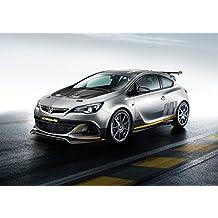Classic y los músculos de los coches y COCHE Opel Astra OPC extrema arte (2014) coche Póster en 10 mil accesorio de plata del lado frontal Vista estática, ...