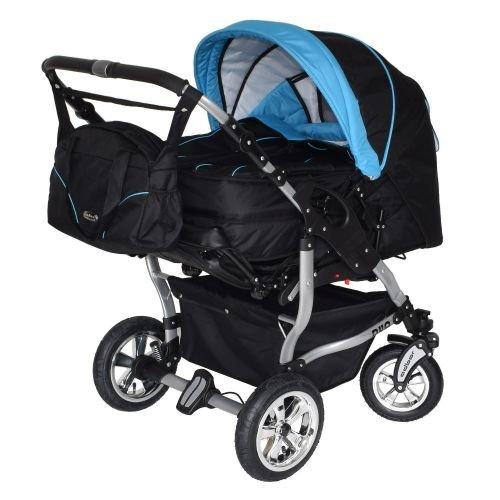 Adbor Duo 3in1 Zwillingskinderwagen mit Babyschalen - silbernes Gestell, Zwillingswagen, Zwillingsbuggy Farbe Nr. 32s schwarz/himmelblau