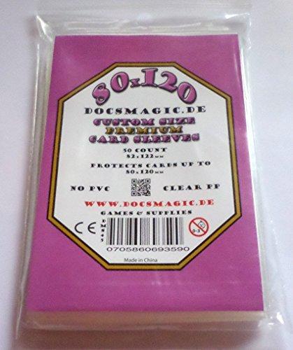 docsmagic.de 50 Premium Magnum Board Game Sleeves - 80 x 120 - 82 x 122