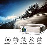 EUG WXGA LCD HD Proyector de Video Cine al Aire Libre Full HD 1080p Compatible con 5000 Lumen Multimedia LED Proyectores para computadora portátil Xbox TV Caja, HDMI USB VGA Audio Altavoz Incorporado