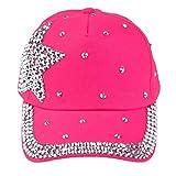 Ularma Mädchen Baseball Cap Modisch Strass Outdoor Reise Baumwolle Mütze Einstellbar Cap (Hot Pink)