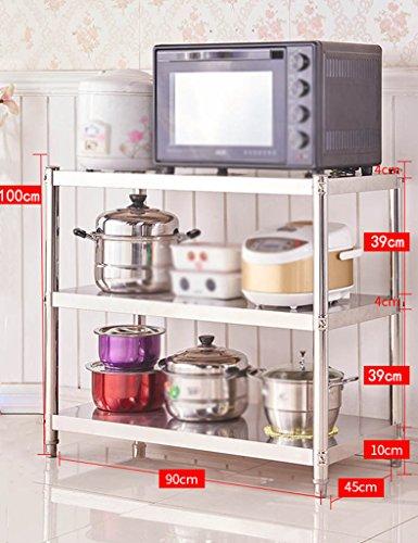 HWF Etagères de cuisine Rangement de four à micro-ondes Finition Rangement de grille de rangement Étagère de sol Étagères en étagère Étagère de cuisine en acier inoxydable 3 couches