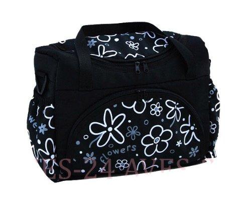 Preisvergleich Produktbild BABYLUX Wickeltasche Kinderwagentasche Schwarz + Blumen #6 mit Wickelunterlage