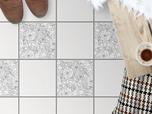 Bad-Bodenfolie, Küchenfliesen | Bodenfliesen Sticker Aufkleber Folie Bad Küche ergänzend zu Kühlschrankmagnet Baddeko | 33,3x33, Design Motiv Creative Lines - 4 Stück