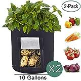 Kartoffel pflanzbeutel, 2er-Pack Kartoffel Grow Bag, 8-Gallonen Pflanzsack aus Vliesstoff mit Tragegriffen für Kartoffel / Karotte und mehr (Schwarz)