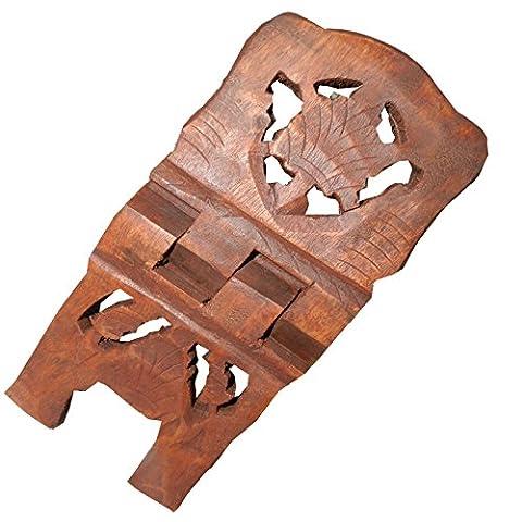Porte-livre 25cm pliable en bois de shisham Motif Feuille de Vigne Artisanat indien