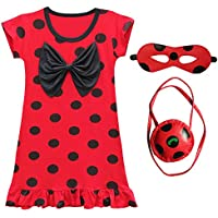 Eleasica Fille Robe de Coccinelle Miraculous Ladybug Costume Masque Sac  Manches Courtes Cosplay Rouge A Pois 203ba4ab9827